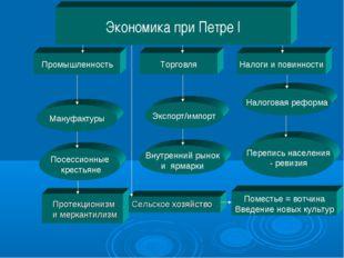 Экономика при Петре I Промышленность Налоги и повинности Торговля Посессионны