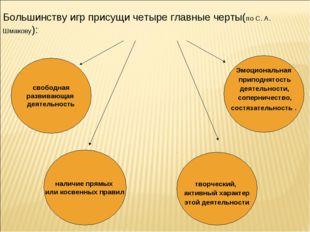 Большинству игр присущи четыре главные черты(по С. А. Шмакову):