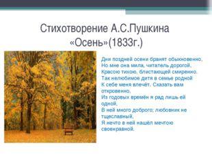 Стихотворение А.С.Пушкина «Осень»(1833г.) Дни поздней осени бранят обыкновенн