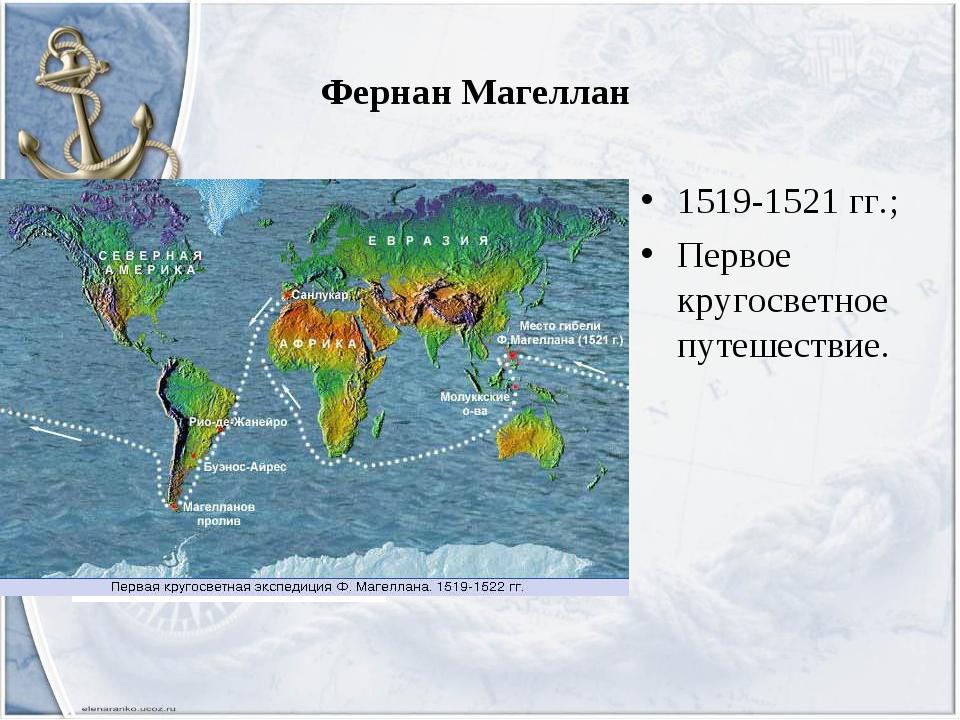 Фернан Магеллан 1519-1521 гг.; Первое кругосветное путешествие.