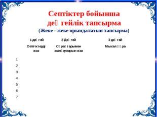 Септіктер бойынша деңгейлік тапсырма (Жеке - жеке орындалатын тапсырма) 1деңг