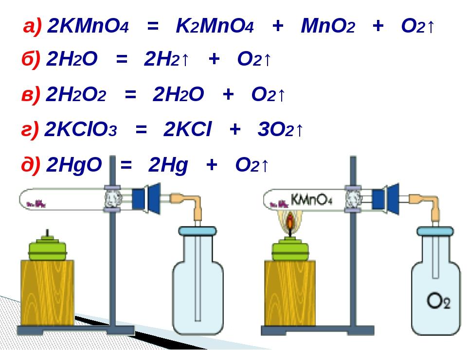 а) 2KMnO4 = K2MnO4 + MnO2 + O2↑ б) 2H2O = 2H2↑ + O2↑ в) 2H2O2 = 2H2O + O2↑ г...