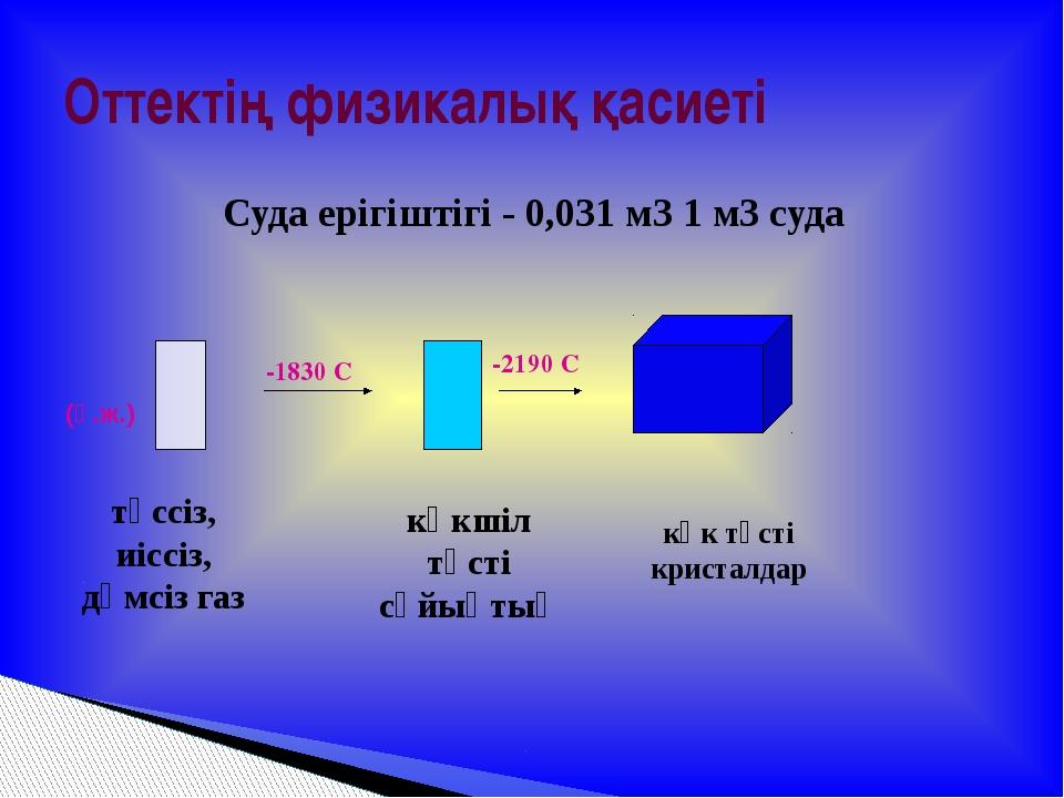Суда ерігіштігі - 0,031 м3 1 м3 суда Оттектің физикалық қасиеті -1830 С -2190...
