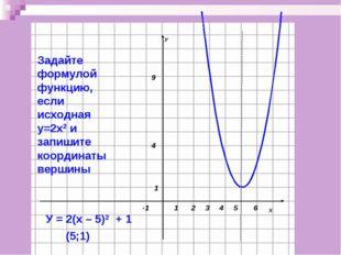 Задайте формулой функцию, если исходная у=2х2 и запишите координаты вершины У