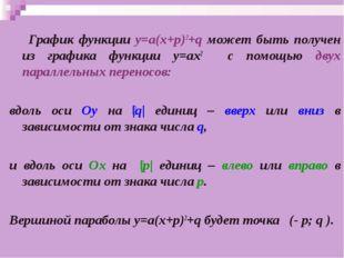 График функции у=а(х+p)2+q может быть получен из графика функции у=ах2 с пом