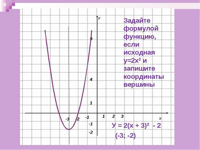 Задайте формулой функцию, если исходная у=2х2 и запишите координаты вершины У...