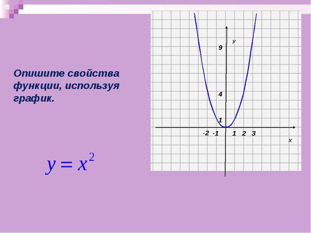 Х У 1 1 -2 2 3 -1 Опишите свойства функции, используя график. 9 4