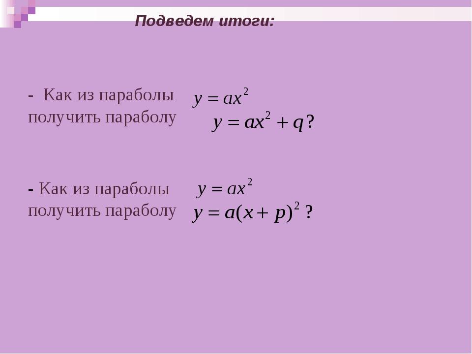 - Как из параболы получить параболу - Как из параболы получить параболу Под...