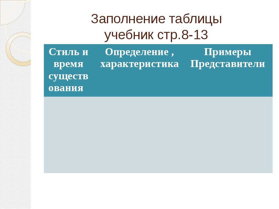 Заполнение таблицы учебник стр.8-13 Стиль и время существования Определение ,...