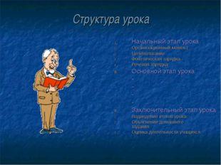 Структура урока Начальный этап урока Организационный момент Целеполагание Фон