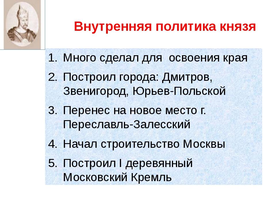 Внутренняя политика князя Много сделал для освоения края Построил города: Дми...