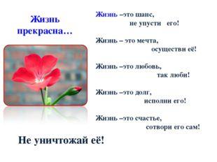 Жизнь прекрасна…      Жизнь –это шанс, не упусти его! Жизнь – это м