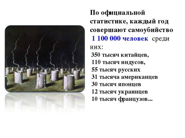 По официальной статистике, каждый год совершают самоубийство 1 100 000 челове...