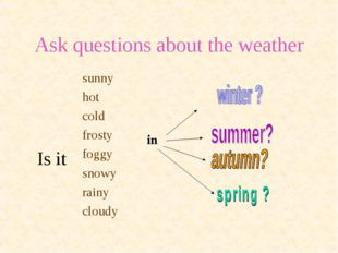 Ask questions about the weather Is it sunny hot cold frosty foggy snowy rainy