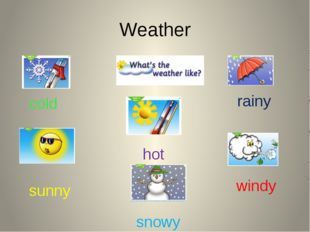 Weather sunny cold windy rainy snowy hot