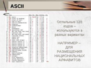 ASCII Остальные 128 кодов – используются в разных вариантах НАПРИМЕР – ДЛЯ РА