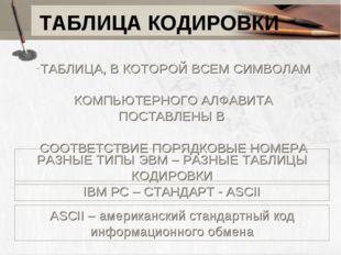 ТАБЛИЦА КОДИРОВКИ ТАБЛИЦА, В КОТОРОЙ ВСЕМ СИМВОЛАМ КОМПЬЮТЕРНОГО АЛФАВИТА ПОС