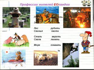Профессии жителей ЕОландии Пчела разводить Земля пахать Лес рубить Свинья пас
