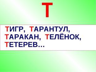 ТИГР, ТАРАНТУЛ, ТАРАКАН, ТЕЛЁНОК, ТЕТЕРЕВ…