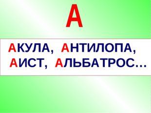 АКУЛА, АНТИЛОПА, АИСТ, АЛЬБАТРОС…