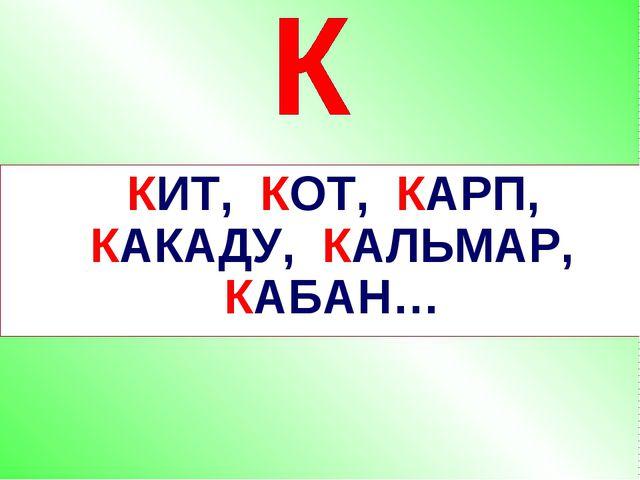 КИТ, КОТ, КАРП, КАКАДУ, КАЛЬМАР, КАБАН…