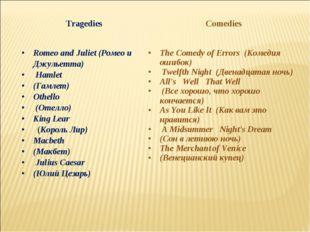TragediesComedies Romeo and Juliet (Ромео и Джульетта) Hamlet (Гамлет) Othel