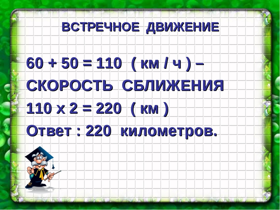 60 + 50 = 110 ( км / ч ) – СКОРОСТЬ СБЛИЖЕНИЯ 110 х 2 = 220 ( км ) Ответ : 2...