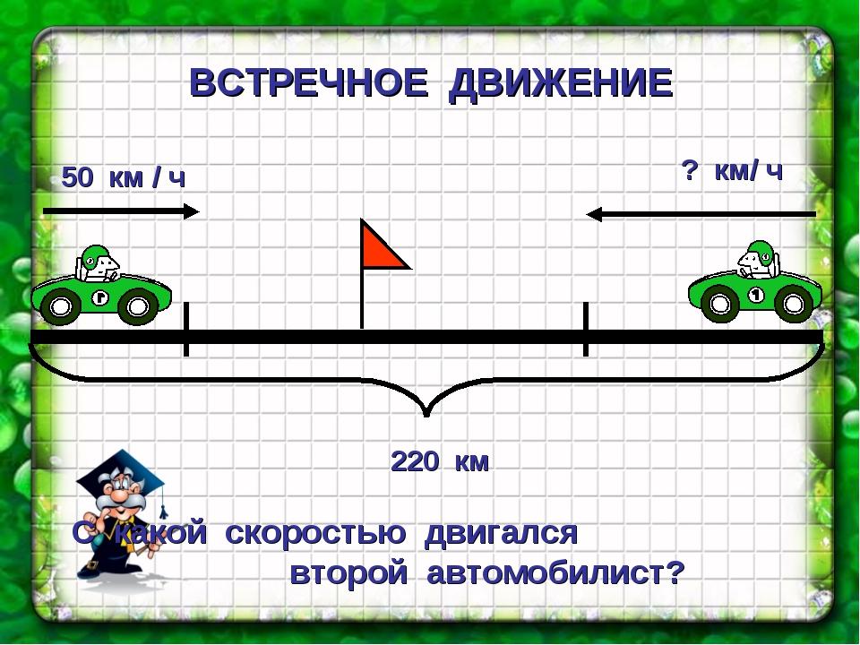 ВСТРЕЧНОЕ ДВИЖЕНИЕ С какой скоростью двигался второй автомобилист?