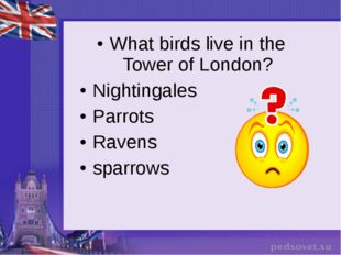 What birds live in the Tower of London? Nightingales Parrots Ravens sparrows