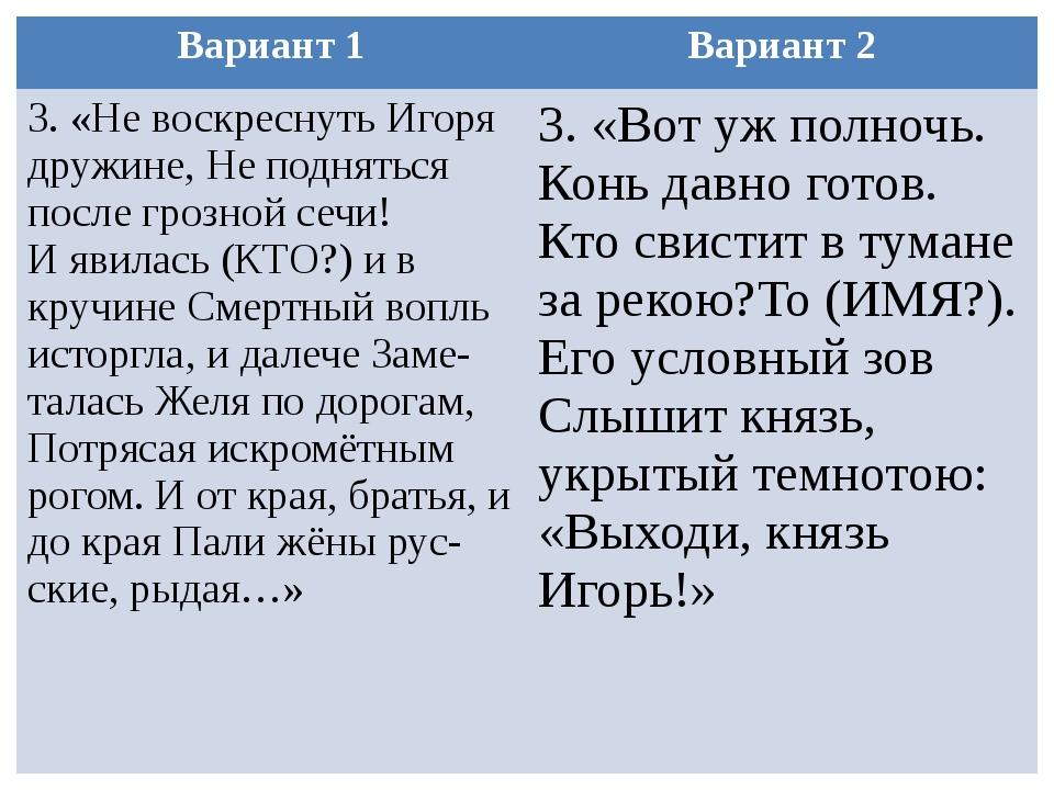 Вариант 1 Вариант 2 3. «Не воскреснуть Игоря дружине, Не подняться после гроз...