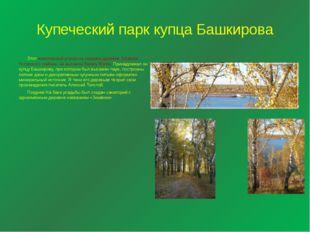Купеческий парк купца Башкирова Этот живописный уголок на окраине деревни Зим