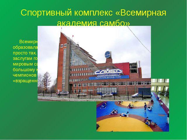 Спортивный комплекс «Всемирная академия самбо» Всемирная академия образовалас...