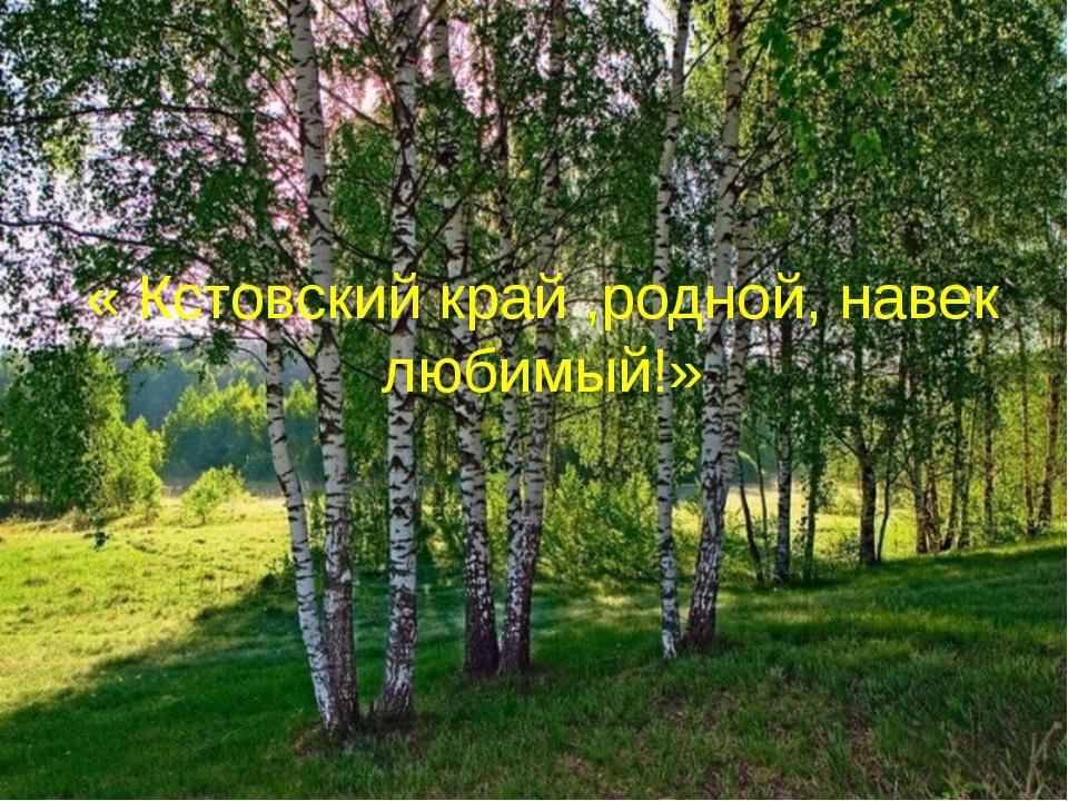 « Кстовский край ,родной, навек любимый!»