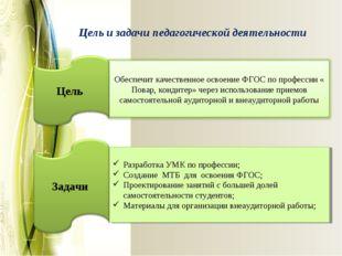 Цель и задачи педагогической деятельности Разработка УМК по профессии; Создан