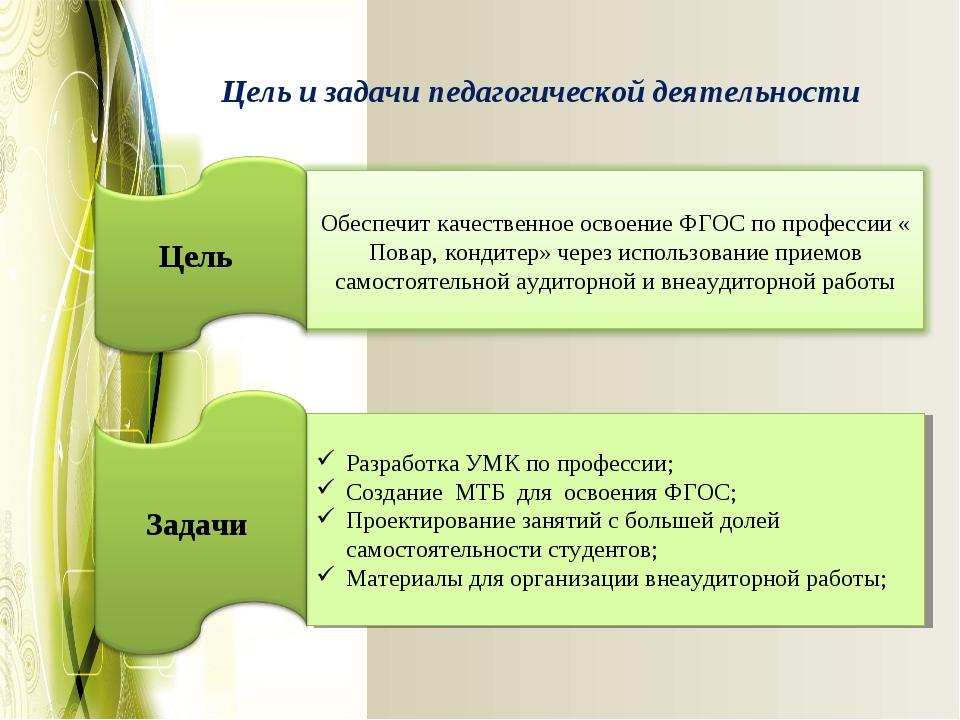 Цель и задачи педагогической деятельности Разработка УМК по профессии; Создан...