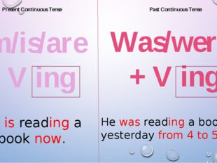 Present Continuous Tense Past Continuous Tense am/is/are + V ing He is readin