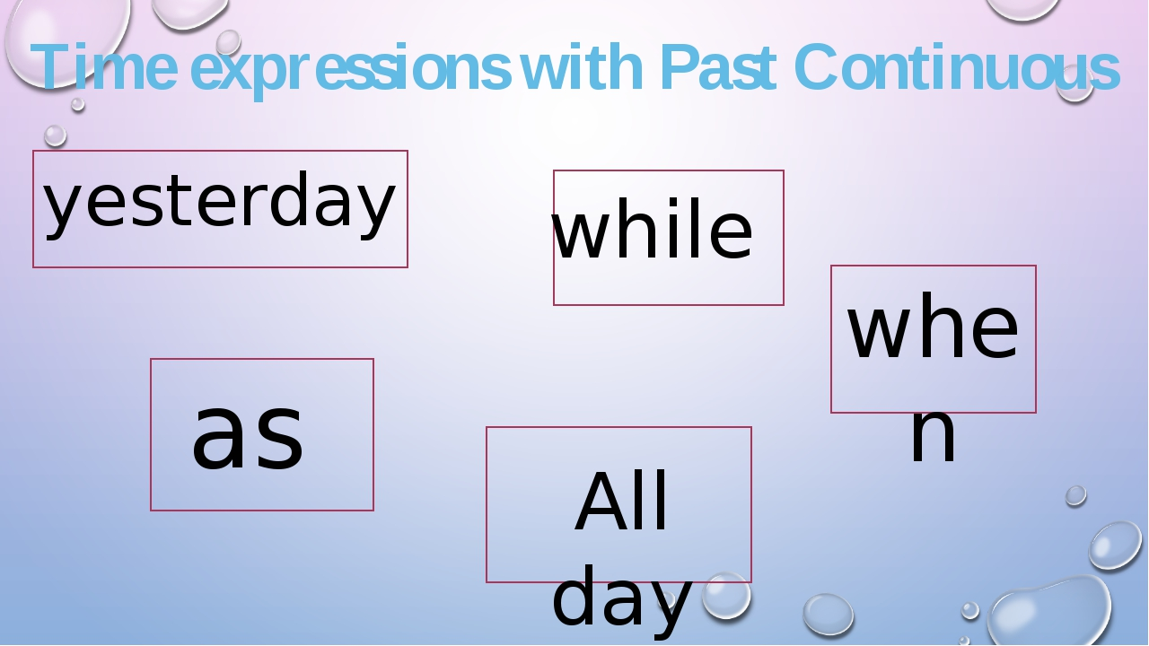 Time expressions with Past Continuous yesterday while when as All day