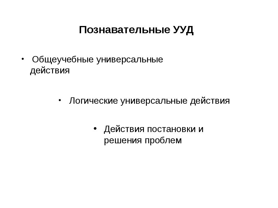 Познавательные УУД Общеучебные универсальные действия Логические универсальн...