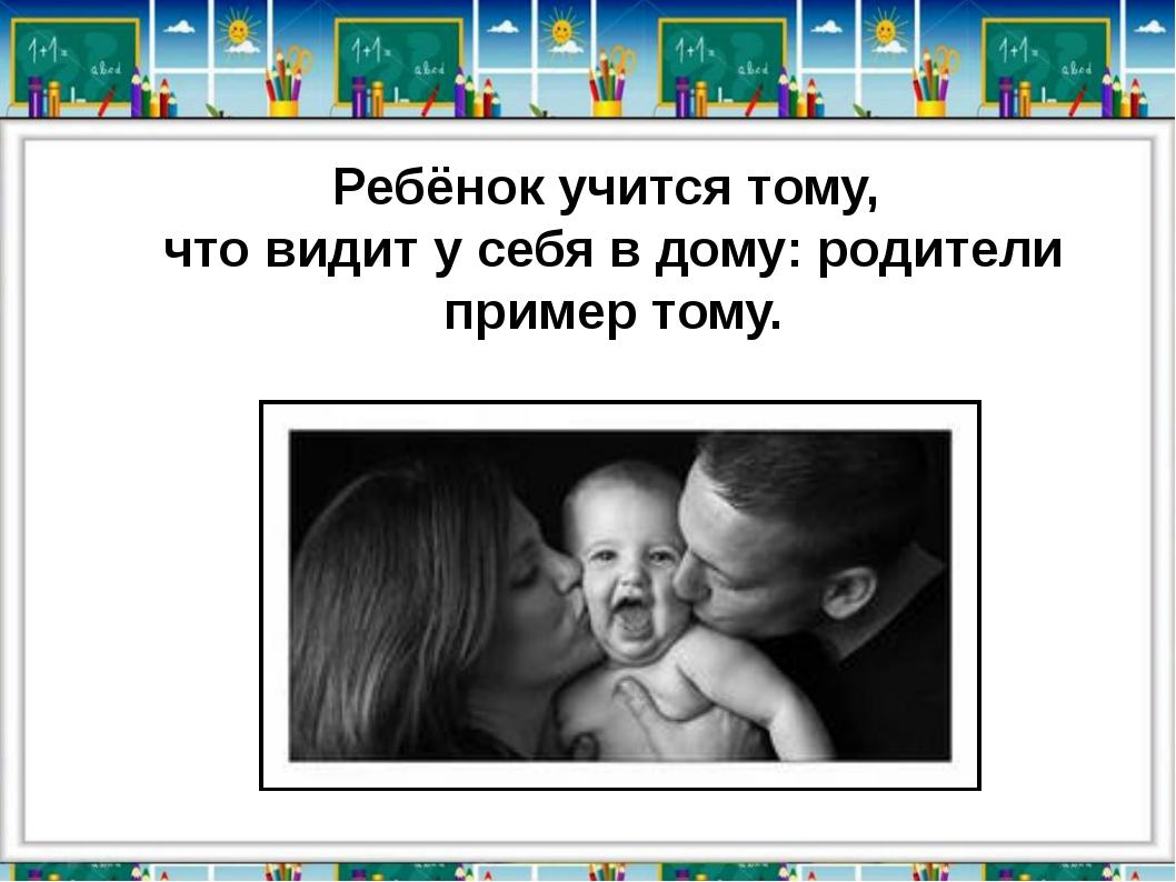 Ребёнок учится тому, что видит у себя в дому: родители пример тому.