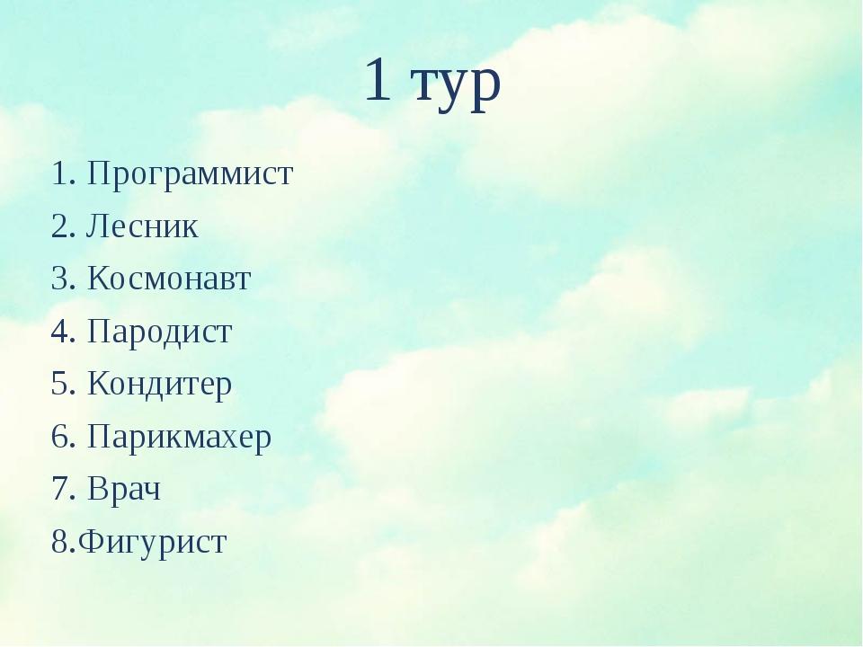 1 тур 1. Программист 2. Лесник 3. Космонавт 4. Пародист 5. Кондитер 6....
