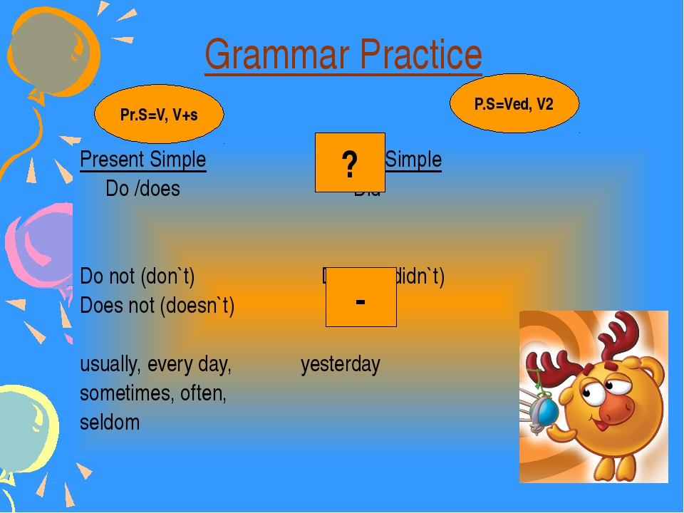 Grammar Practice Present Simple Past Simple Do /does Did Do not (don`t) Did n...