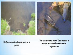 Небольшой объем воды в реке Загрязнение реки бытовым и сельскохозяйственным м