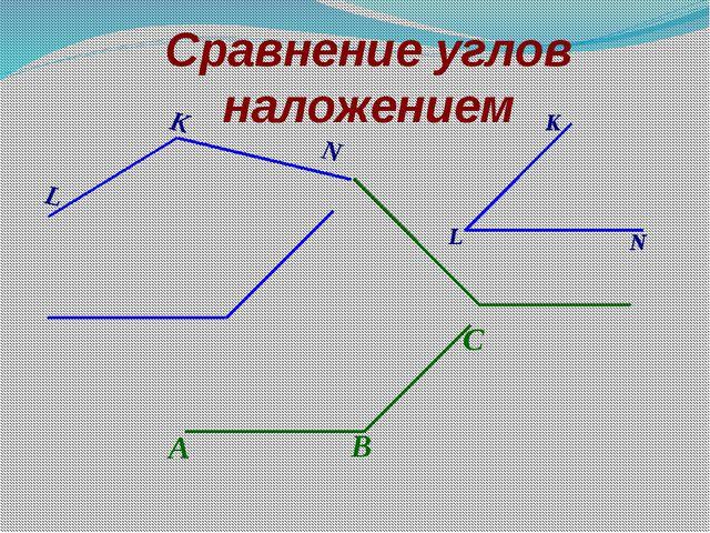 Сравнение углов наложением А В С L K N L N K