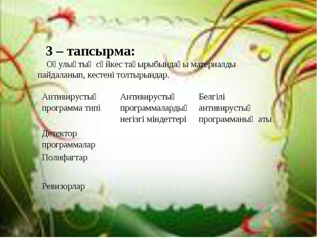 3 – тапсырма: Оқулықтың сәйкес тақырыбындағы материалды пайдаланып, кестені...