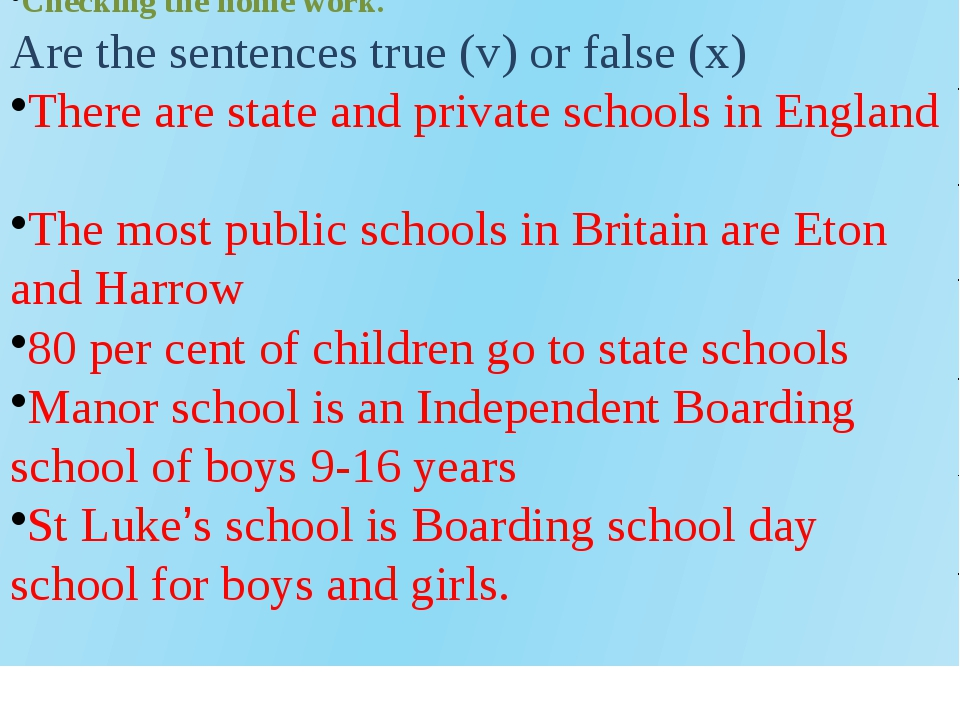 Checking the home work. Are the sentences true (v) or false (x) There are sta...