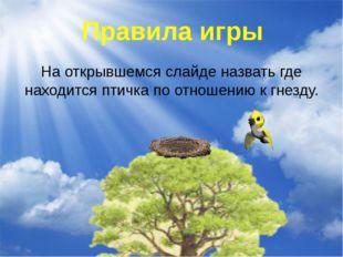 На открывшемся слайде назвать где находится птичка по отношению к гнезду. Пра
