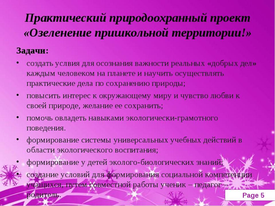 Практический природоохранный проект «Озеленение пришкольной территории!» Зада...