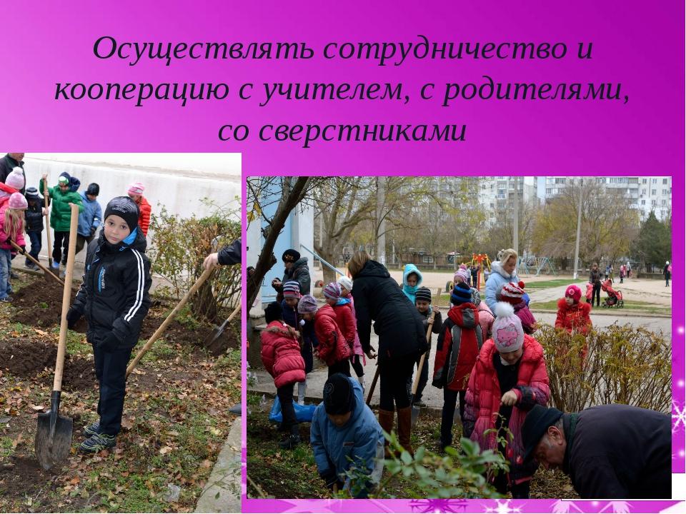 Осуществлять сотрудничество и кооперацию с учителем, с родителями, со сверстн...