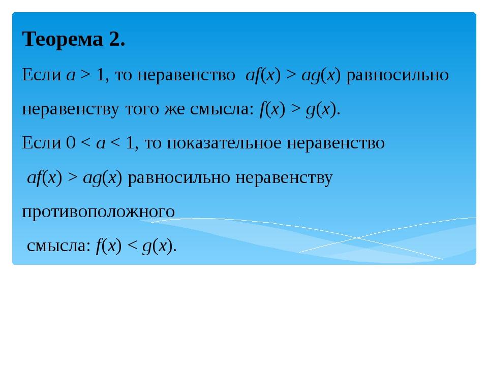 Теорема 2. Если a > 1, то неравенство af(x)>ag(x)равносильно неравенству...