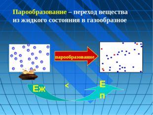 парообразование < Еп Еж Парообразование – переход вещества из жидкого состоя